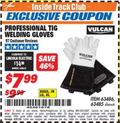 Harbor Freight ITC Coupon VULCAN PROFESSIONAL TIG WELDING GLOVES Lot No. 63485/63486 Dates Valid: 5/3/19 - 5/31/19 - $7.99
