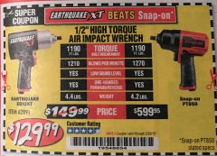 "Harbor Freight Coupon 1/2"" COMPOSITE PRO EXTREME TORQUE AIR IMPACT WRENCH Lot No. 62891 Expired: 1/31/19 - $129.99"