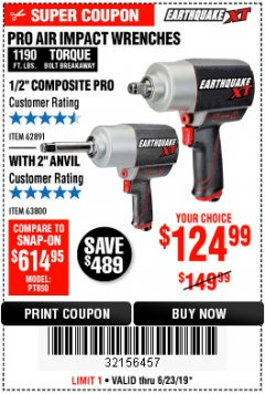 "Harbor Freight Coupon 1/2"" COMPOSITE PRO EXTREME TORQUE AIR IMPACT WRENCH Lot No. 62891 Expired: 6/23/19 - $124.99"