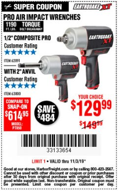 "Harbor Freight Coupon 1/2"" COMPOSITE PRO EXTREME TORQUE AIR IMPACT WRENCH Lot No. 62891 Expired: 11/3/19 - $129.99"
