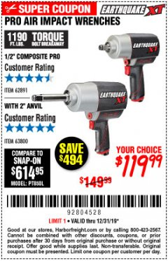 "Harbor Freight Coupon 1/2"" COMPOSITE PRO EXTREME TORQUE AIR IMPACT WRENCH Lot No. 62891 Expired: 12/31/19 - $119.99"