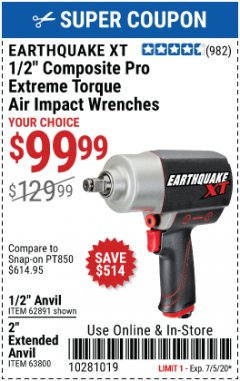 "Harbor Freight Coupon 1/2"" COMPOSITE PRO EXTREME TORQUE AIR IMPACT WRENCH Lot No. 62891 Expired: 7/5/20 - $99.99"