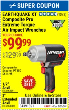 "Harbor Freight Coupon 1/2"" COMPOSITE PRO EXTREME TORQUE AIR IMPACT WRENCH Lot No. 62891 Expired: 8/30/20 - $99.99"