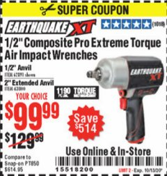 "Harbor Freight Coupon 1/2"" COMPOSITE PRO EXTREME TORQUE AIR IMPACT WRENCH Lot No. 62891 Expired: 10/13/20 - $99.99"