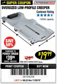 Harbor Freight Coupon OVERSIZED LOW-PROFILE CREEPER Lot No. 63371/63424/64169/63372 Expired: 11/30/18 - $19.99