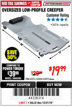 Harbor Freight Coupon OVERSIZED LOW-PROFILE CREEPER Lot No. 63371/63424/64169/63372 Expired: 12/31/18 - $19.99