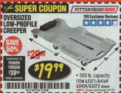 Harbor Freight Coupon OVERSIZED LOW-PROFILE CREEPER Lot No. 63371/63424/64169/63372 Expired: 3/31/19 - $19.99