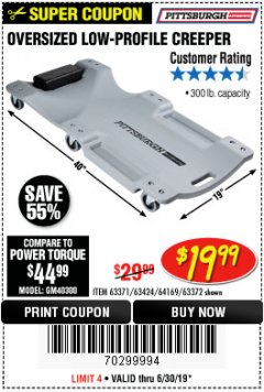 Harbor Freight Coupon OVERSIZED LOW-PROFILE CREEPER Lot No. 63371/63424/64169/63372 Expired: 6/30/19 - $19.99