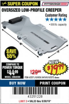 Harbor Freight Coupon OVERSIZED LOW-PROFILE CREEPER Lot No. 63371/63424/64169/63372 Expired: 9/30/19 - $19.99