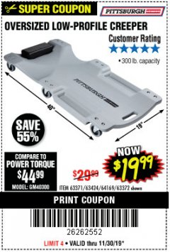 Harbor Freight Coupon OVERSIZED LOW-PROFILE CREEPER Lot No. 63371/63424/64169/63372 Expired: 11/30/19 - $19.99