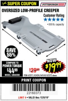 Harbor Freight Coupon OVERSIZED LOW-PROFILE CREEPER Lot No. 63371/63424/64169/63372 Expired: 12/8/19 - $19.99