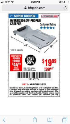 Harbor Freight Coupon OVERSIZED LOW-PROFILE CREEPER Lot No. 63371/63424/64169/63372 Expired: 2/2/20 - $19.99