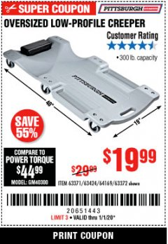 Harbor Freight Coupon OVERSIZED LOW-PROFILE CREEPER Lot No. 63371/63424/64169/63372 Expired: 1/1/20 - $19.99