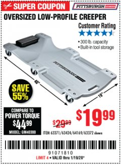 Harbor Freight Coupon OVERSIZED LOW-PROFILE CREEPER Lot No. 63371/63424/64169/63372 Expired: 1/19/20 - $19.99
