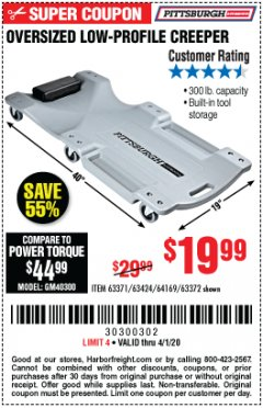 Harbor Freight Coupon OVERSIZED LOW-PROFILE CREEPER Lot No. 63371/63424/64169/63372 Expired: 4/1/20 - $19.99