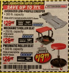 Harbor Freight Coupon OVERSIZED LOW-PROFILE CREEPER Lot No. 63371/63424/64169/63372 Expired: 3/31/20 - $19.99