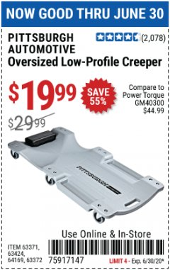 Harbor Freight Coupon OVERSIZED LOW-PROFILE CREEPER Lot No. 63371/63424/64169/63372 Expired: 6/30/20 - $19.99