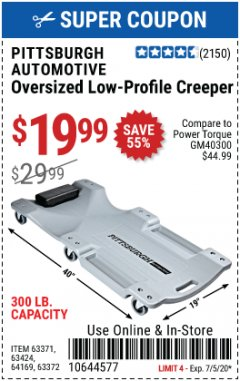 Harbor Freight Coupon OVERSIZED LOW-PROFILE CREEPER Lot No. 63371/63424/64169/63372 EXPIRES: 7/5/20 - $19.99
