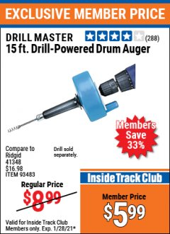 Harbor Freight ITC Coupon 15 FT. DRILL-POWERED DRUM AUGER Lot No. 57201 Valid: 1/1/21 1/28/21 - $5.99