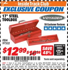 "Harbor Freight ITC Coupon 17"" STEEL TOOLBOX Lot No. 97532 Expired: 12/31/18 - $12.99"