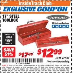 "Harbor Freight ITC Coupon 17"" STEEL TOOLBOX Lot No. 97532 Expired: 8/31/19 - $12.99"