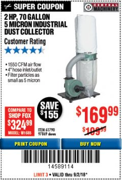 Harbor Freight Coupon 2 HP INDUSTRIAL 5 MICRON DUST COLLECTOR Lot No. 97869/61790 Expired: 9/2/18 - $169.99