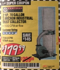 Harbor Freight Coupon 2 HP INDUSTRIAL 5 MICRON DUST COLLECTOR Lot No. 97869/61790 Expired: 2/28/19 - $179.99