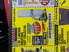 Harbor Freight Coupon 2 HP INDUSTRIAL 5 MICRON DUST COLLECTOR Lot No. 97869/61790 Expired: 6/28/19 - $179.99