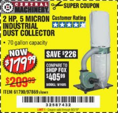 Harbor Freight Coupon 2 HP INDUSTRIAL 5 MICRON DUST COLLECTOR Lot No. 97869/61790 Valid Thru: 9/3/19 - $179.99