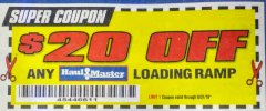 "Harbor Freight PERCENT Coupon 9"" x 72"", 2 PIECE STEEL LOADING RAMPS Lot No. 44649/69591/69646 Expired: 8/31/18 - $0"
