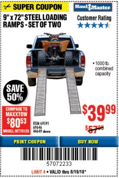 "Harbor Freight Coupon 9"" x 72"", 2 PIECE STEEL LOADING RAMPS Lot No. 44649/69591/69646 Expired: 8/19/18 - $39.99"