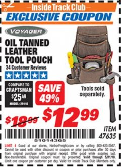 Harbor Freight ITC Coupon OIL TANNED LEATHER TOOL POUCH Lot No. 47635 Dates Valid: 5/3/19 - 5/31/19 - $12.99