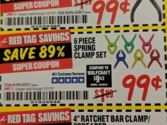 Harbor Freight Coupon 6 PIECE MICRO SPRING CLAMP SET Lot No. 46190/69375 Expired: 1/31/19 - $0.99