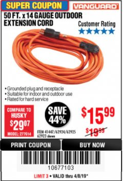 Harbor Freight Coupon 50FT.X14GAUGE OUTDOOR EXTENSION CORD Lot No. 41447/62924/62925 Expired: 4/8/19 - $15.99