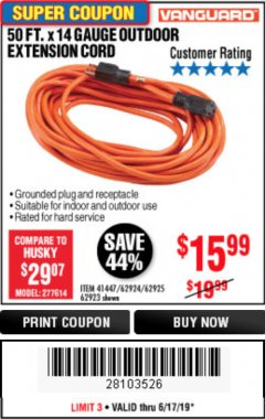 Harbor Freight Coupon 50FT.X14GAUGE OUTDOOR EXTENSION CORD Lot No. 41447/62924/62925 Expired: 6/30/19 - $15.99
