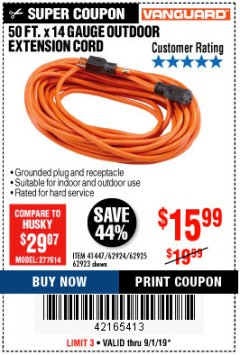 Harbor Freight Coupon 50FT.X14GAUGE OUTDOOR EXTENSION CORD Lot No. 41447/62924/62925 Expired: 9/1/19 - $15.99