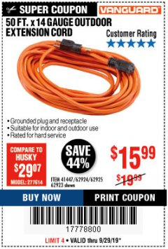 Harbor Freight Coupon 50FT.X14GAUGE OUTDOOR EXTENSION CORD Lot No. 41447/62924/62925 Expired: 9/29/19 - $15.99