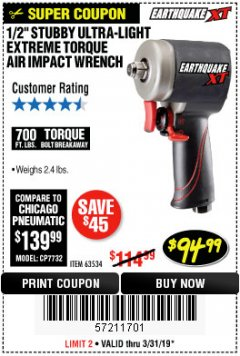 "Harbor Freight Coupon 1/2"" STUBBY ULTRA-LIGHT EXTREME TORQUE AIR IMPACT WRENCH Lot No. 63534 Expired: 3/31/19 - $94.99"