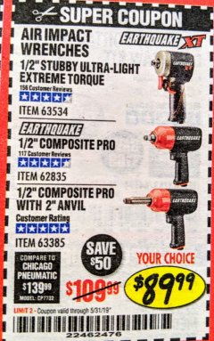 "Harbor Freight Coupon 1/2"" STUBBY ULTRA-LIGHT EXTREME TORQUE AIR IMPACT WRENCH Lot No. 63534 EXPIRES: 5/31/19 - $89.99"