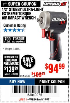 "Harbor Freight Coupon 1/2"" STUBBY ULTRA-LIGHT EXTREME TORQUE AIR IMPACT WRENCH Lot No. 63534 Expired: 9/15/19 - $94.99"