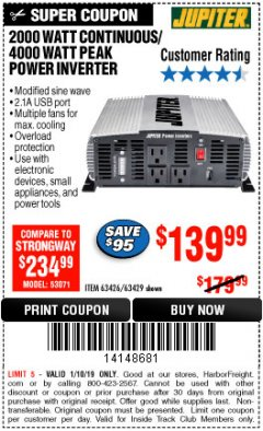 Harbor Freight ITC Coupon 2000 WATT CONTINUOUS/4000 WATT PEAK POWER INVERTER Lot No. 63426/63429 Expired: 1/10/19 - $139.99