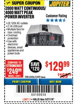Harbor Freight Coupon 2000 WATT CONTINUOUS/4000 WATT PEAK POWER INVERTER Lot No. 63426/63429 Expired: 5/27/18 - $129.99