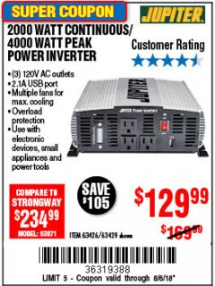 Harbor Freight Coupon 2000 WATT CONTINUOUS/4000 WATT PEAK POWER INVERTER Lot No. 63426/63429 Expired: 8/6/18 - $129.99