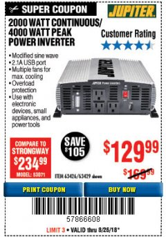Harbor Freight Coupon 2000 WATT CONTINUOUS/4000 WATT PEAK POWER INVERTER Lot No. 63426/63429 Expired: 8/26/18 - $129.99