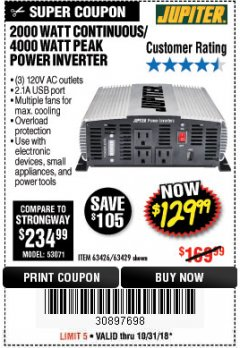 Harbor Freight Coupon 2000 WATT CONTINUOUS/4000 WATT PEAK POWER INVERTER Lot No. 63426/63429 Expired: 10/31/18 - $129.99