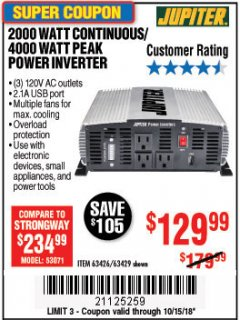 Harbor Freight Coupon 2000 WATT CONTINUOUS/4000 WATT PEAK POWER INVERTER Lot No. 63426/63429 Expired: 10/15/18 - $129.99