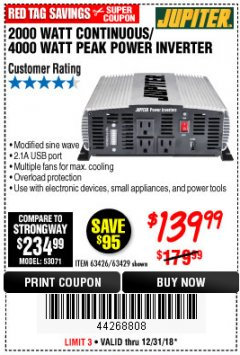 Harbor Freight Coupon 2000 WATT CONTINUOUS/4000 WATT PEAK POWER INVERTER Lot No. 63426/63429 Expired: 12/31/18 - $139.99