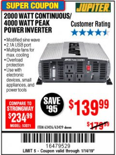 Harbor Freight Coupon 2000 WATT CONTINUOUS/4000 WATT PEAK POWER INVERTER Lot No. 63426/63429 Expired: 1/14/19 - $139.99