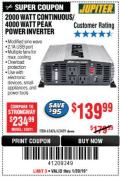 Harbor Freight Coupon 2000 WATT CONTINUOUS/4000 WATT PEAK POWER INVERTER Lot No. 63426/63429 Expired: 1/20/19 - $139.99