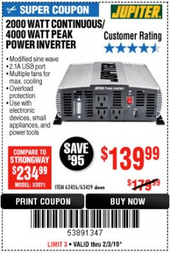 Harbor Freight Coupon 2000 WATT CONTINUOUS/4000 WATT PEAK POWER INVERTER Lot No. 63426/63429 Expired: 2/3/19 - $139.99